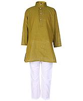 Buy Babyhug Full Sleeves Stand Collar Kurta And Pajama Set Green - Self Lining Print