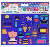 Fab N Funky Household Equipment Design Stencils - Blue