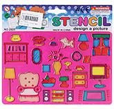 Buy Fab N Funky Household Equipment Design Stencils - Pink