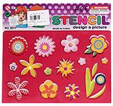 Buy Fab N Funky Flower Design Stencil - Red
