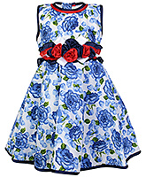 Buy Babyhug Party Wear Frock with Flower Applique Line on Waist - Blue