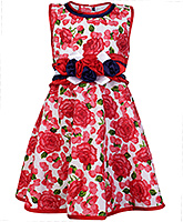 Buy Babyhug Party Wear Frock with Flower Applique Line on Waist - Red