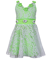 Buy Babyhug Singlet Netted Party Wear Frock - Green and White