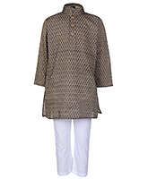 Buy Babyhug Full Sleeves Printed Kurta And Pajama Set - Brown