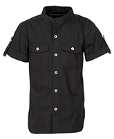 Buy Cool Quotient Half Sleeves Shirt Black - Chinese Collar