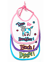 Littles Time For Dinner Print Baby Bibs - Set of 3