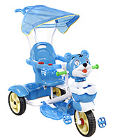 Buy Fab N Funky Musical Tricycle Tiger Face with Canopy and Push Handle - Blue