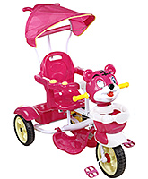 Buy Fab N Funky Musical Tricycle Tiger Face with Canopy and Push Handle - Red