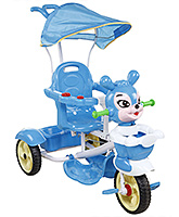 Buy Fab N Funky Musical Tricycle Animal Face with Canopy and Push Handle - Blue
