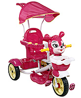 Buy Fab N Funky Musical Tricycle Animal Face with Canopy and Push Handle - Dark Pink