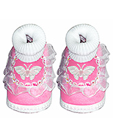 Little's Sock Style Bootie With Frill And Butterfly Applique