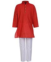 Buy Babyhug Full Sleeves Kurta An Pajama Red - Pin Stripes Print
