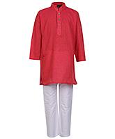 Buy Babyhug Full Sleeves Kurta An Pajama Pink - Pin Stripes Print