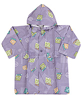 Buy Babyhug Printed Hooded Raincoat - Light Purple
