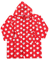 Buy Babyhug Hooded Raincoat Apple Print - Red