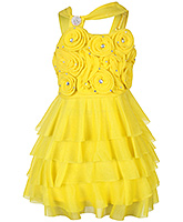 Babyhug Singlet Party Wear Layered Frock with Flower Motifs - Yellow