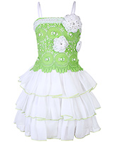 Babyhug Singlet Party Wear Layered Frock With Pearl Work - Green