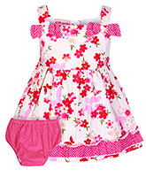 Buy Cupcake Singlet Party Frock With Bloomer Pink With Flower Applique