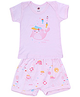 Buy Zero Half Sleeves Envelope Neck T-Shirt and Diaper Legging - Pink