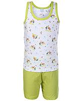 Buy Tango Sleeveless T-Shirt and Shorts with Elephant Print - Green