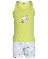 Buy Tango Sleeveless T-Shirt And Shorts Cat Print - Lime Green