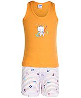 Buy Tango Sleeveless Printed T-Shirt And Shorts Set - Orange