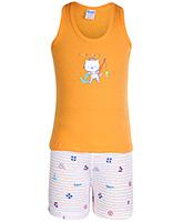Buy Tango Sleeveless T-Shirt And Shorts Cat Print - Orange