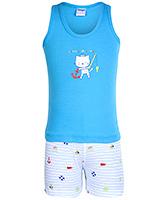 Buy Tango Sleeveless T-Shirt And Shorts Cat Print - Blue