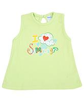 Buy Tango Sleeveless Frock I Love Summer Print - Green