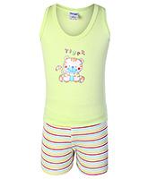 Buy Tango Sleeveless T-Shirt And Shorts Lime Green - Tiger Print