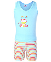 Buy Tango Sleeveless T-Shirt And Shorts Sky Blue - Tiger Print