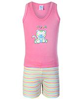 Buy Tango Sleeveless T-Shirt And Shorts Pink - Tiger Print