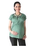 Buy Morph Green Raglan Sleeves Maternity Top