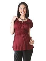 Buy Morph Maroon Raglan Sleeves Maternity Top