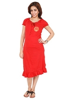 Buy Morph Short Sleeves Quarter Length Nursing Gown - Red