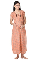 Buy Morph Short Sleeves Full Length Nursing Gown - Orange