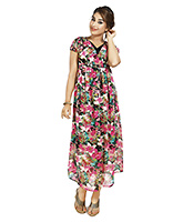 Buy Nine Short Sleeves Long Dress with Floral Print Multicolor