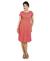 Buy Nine Short Sleeves Evening Wear Dress with Belt at Back - Peach