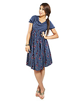Buy Nine Short Sleeves Maternity Dress with Cowl Neck - Blue