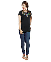 Nine Short Sleeves Maternity Top with Tribal Embroidery -  Black