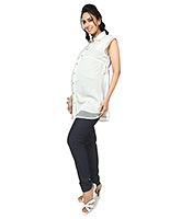 Nine Sleeveless Formal Maternity Shirt with Front Button Access - Off White