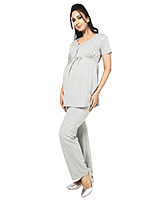 Buy Nine Short Sleeves Maternity Nursing Blouse - Grey