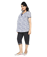 Buy Nine Half Sleeves Maternity Nursing Lounge Wear Set In Bright White Print
