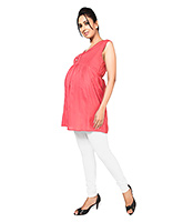 Nine Sleeveless Maternity Top with Front Button Access - Pink