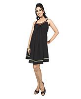 Buy Nine Maternity Spaghetti Dress With Folk Embroidery - Black
