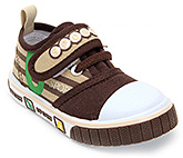 Buy Cute Walk Canvas Shoes with Sport Applique on Strap - Brown