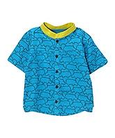 Buy awerganic Organic Cotton Half Sleeves Shirt with Hippo Print - Blue
