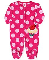 Carters Full Sleeves Footed Romper With Polka Dot and Lady Bug Print - Pink