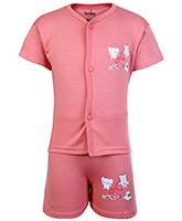 Babyhug Half Sleeves Front Open T-Shirt And Shorts Set