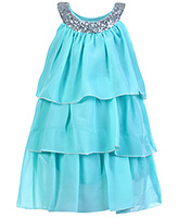 Buy Babyhug Sleeveless Layered Frock With Scoop Neck Embellishment - Green Ice